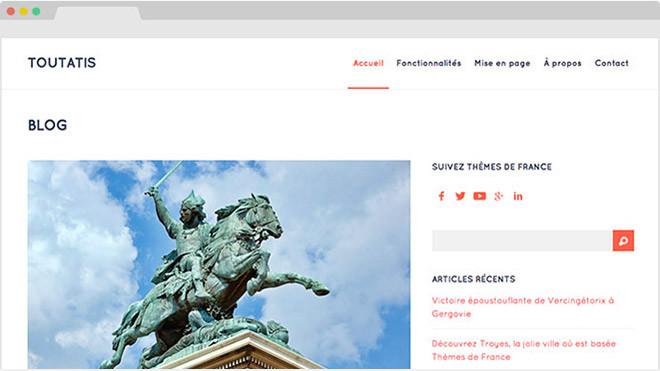 Thème WordPress francais et gratuit Toutatis